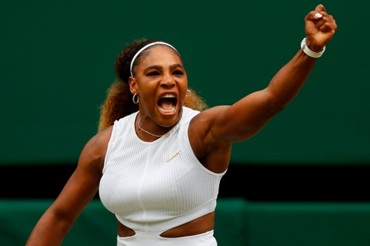 July 9: Serena Williams celebrates winning the first set against Alison Riske during their quarterfinal match.