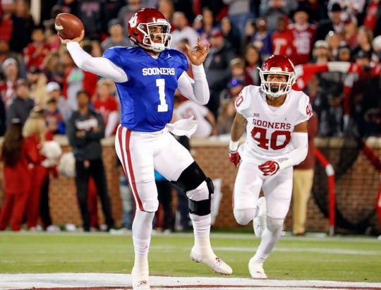 Oklahoma quarterback Jalen Hurts (1) passes the ball during the team's spring football game in April of 2019.
