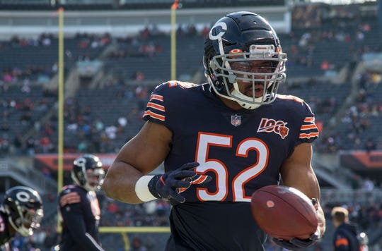 Chicago Bears outside linebacker Khalil Mack (52) warms up prior to a game earlier this season.