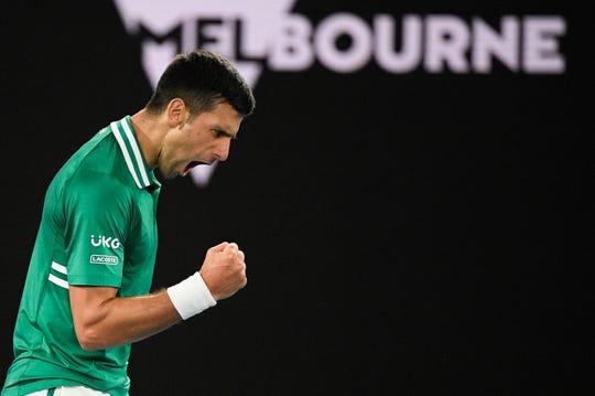 Serbia's Novak Djokovic reacts after winning the third set against Germany's Alexander Zverev at the Australian Open.