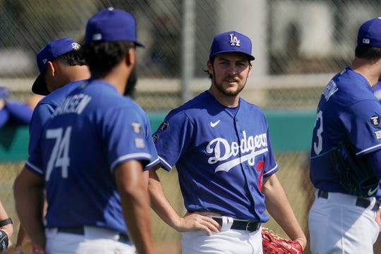Trevor Bauer pitched two scoreless innings in his first spring training appearance of the Dodgers.